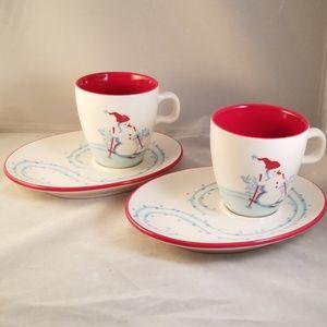 Set of 2 Starbucks christmas cups and saucers